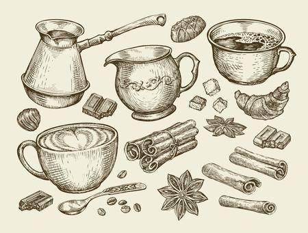 creamer: Food, tea, coffee. Hand-drawn cup, cinnamon, anise, creamer, teaspoon croissant sugar beans chocolate candy turk Sketch vector illustration