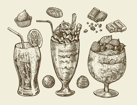Alimentation, dessert, boissons. Hand-drawn soda, limonade, cocktail, smoothie, milk-shake, mélange glace boisson verre crème sundae bonbons chocolat vecteur Croquis illustration