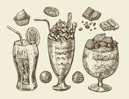 mixed drink: Food, dessert, drinks. Hand-drawn soda, lemonade, cocktail, smoothie, milkshake, mixed drink ice cream sundae glass candy chocolate Sketch vector illustration