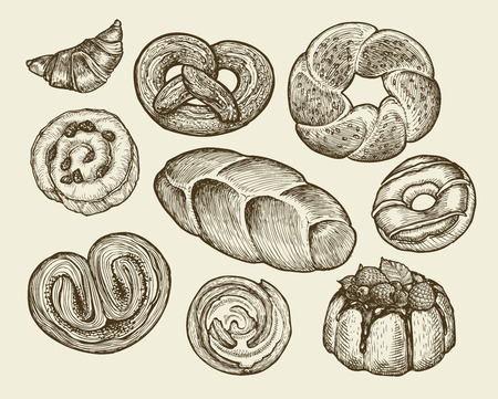 bread roll: Hand drawn vintage breads, pastries. Pie, pasty, cake, loaf cookie croissant dessert Vector illustration