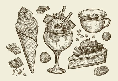 postres: Comida, postre, bebida. Dibujado a mano helado, helado, café, té, pastel de pastel de caramelo de chocolate ilustración Esquema del vector