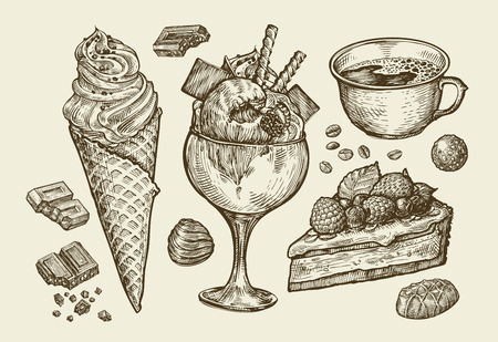 Food, dessert, drink. Hand-drawn ice cream, sundae, cup of coffee, tea, cake pie chocolate candy Sketch vector illustration Ilustração