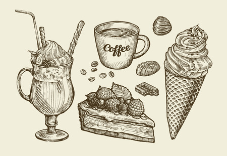delicatessen: Food, dessert, drink. Hand-drawn ice cream, sundae, cup of coffee, tea, cake, pie chocolate candy cocktail smoothie milkshake Sketch vector illustration
