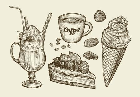 Jedzenie, deser, picie. Rysowane ręcznie lody, puchar, filiżankę kawy, herbatę, ciasto, ciasto czekoladowe cukierki koktajl koktajl smoothie milkshake szkic ilustracji wektorowych Ilustracje wektorowe