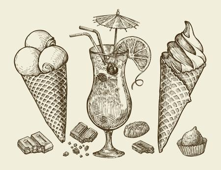 Comida, postre, bebida. Dibujado a mano helados vintage, helado, chocolate, caramelo cóctel de limonada ilustración Esquema del vector Ilustración de vector