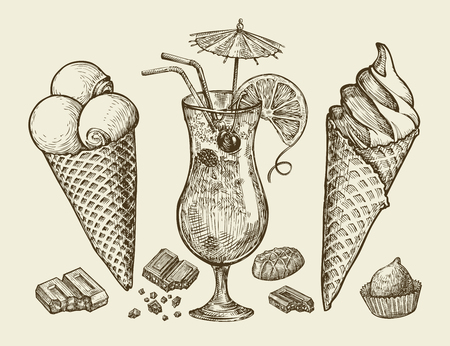 ice cream sundae: Food, dessert, drink. Hand-drawn vintage ice cream, sundae, chocolate, candy cocktail lemonade Sketch vector illustration