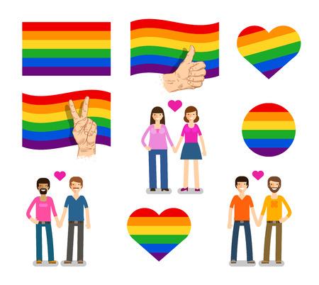 wedding parade: Symbol,  flag LGBT. Lesbian Gay Bisexual Transgender icons