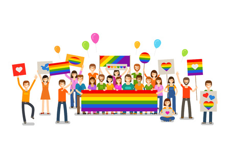 Gay parade. People with placards. Sexual revolution, free love. Holiday, celebration festivity vector illustration