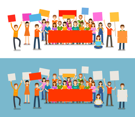 People with placards on demonstration. Holiday, celebration, vector illustration