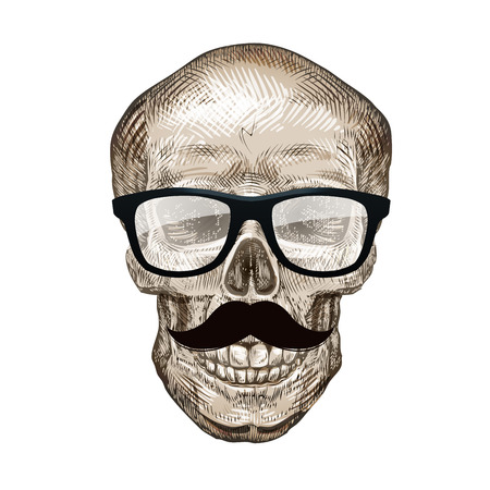 grinning: Hipster skull with sunglasses, mustache. Vector illustration