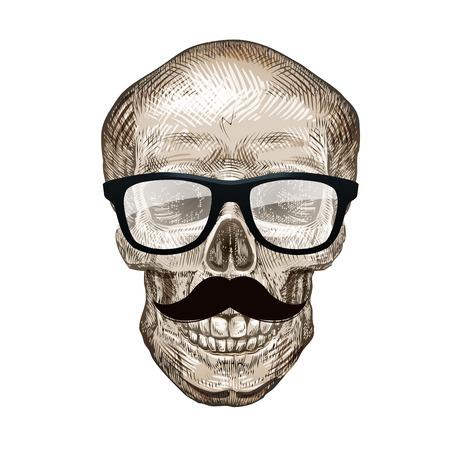 Hipster skull with sunglasses, mustache. Vector illustration