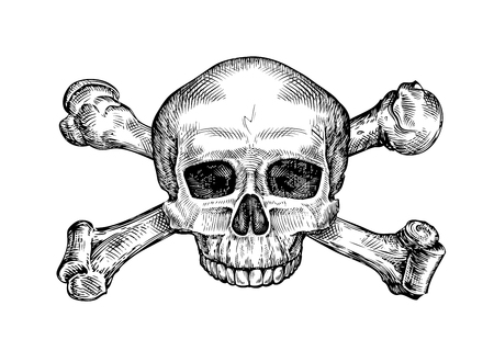 Jolly roger. Hand-drawn human skull and crossbones. Sketch vector illustration Illustration