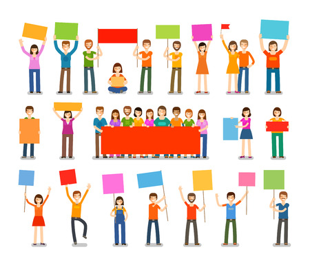 parade: Demonstration, procession, parade icons. People with placards isolated on white background. Vector illustration