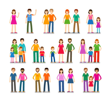 wedlock: People icons set. Family, love, children symbol Vector illustration