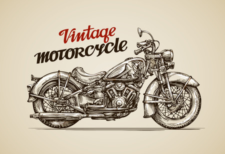 Vintage motorcycle. Hand drawn motorbike vector illustration