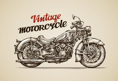 Vintage motorfiets. Hand getrokken motor vector illustratie