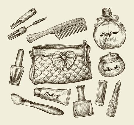 woman face cream: Hand-drawn vintage womens cosmetics. Sketch cosmetic bag, face cream, lipstick, perfume, comb, concealer, mascara, makeup brush Vector illustration Illustration