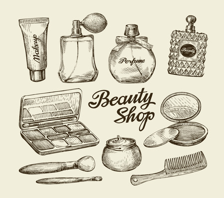 bodycare: Hand-drawn vintage womens cosmetics. Sketch perfume, powder, comb, face cream, makeup brush, body cream, lotion Vector illustration