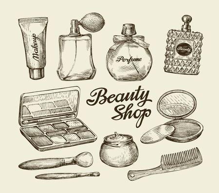Dibujados a mano para mujer de la vendimia cosméticos. Bosquejo de perfume, polvo, peine, crema para la cara, cepillo del maquillaje, crema corporal, loción ilustración vectorial