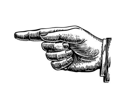 denote: Hand drawn retro forefinger. vintage image. Vector illustration