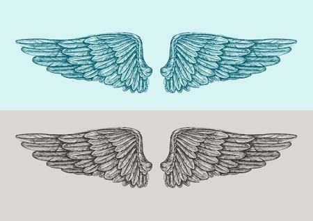 Met de hand getekende vintage engelenvleugels. Schets vector illustratie Stock Illustratie