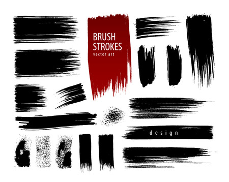 Hand painted collection brush strokes. Vector illustration Illustration