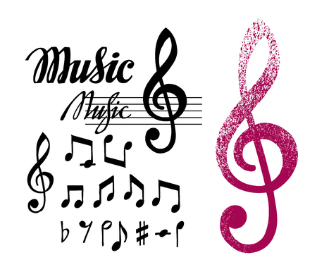 key signature: Notes and treble clef. Set of music elements or icons