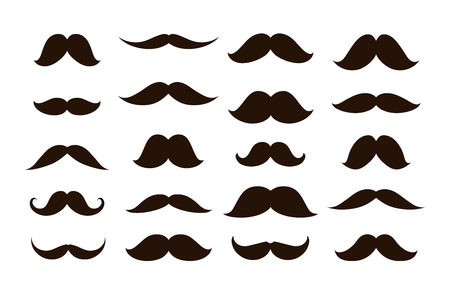 facial features: Set mustaches isolated on white background, vector illustration