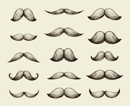 set of men hair styling: Hand drawn sketch collection of mustache. Vector illustration Illustration