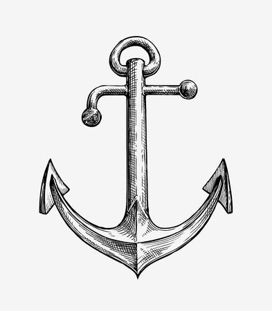 berth: Hand drawn sketch vintage anchor. Vector illustration