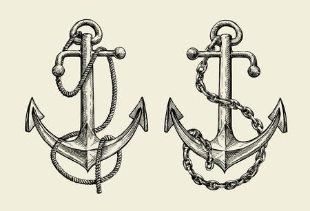 Hand drawn sketch nautical anchor. Vector illustration