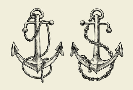 Hand drawn sketch nautical anchor. Vector illustration