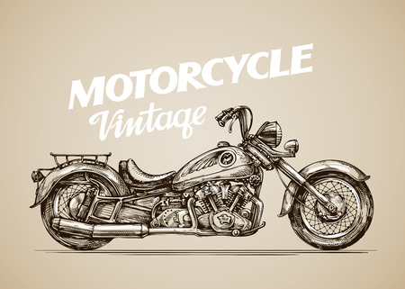 Vintage motorcycle. Hand-drawn retro motorbike. Vector illustration Illustration