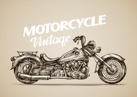 handdrawn: Vintage motorcycle. Hand-drawn retro motorbike. Vector illustration Illustration