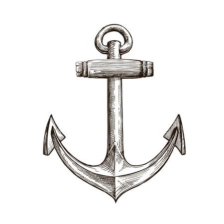 Hand drawn sketch anchor. Vector artwork illustration