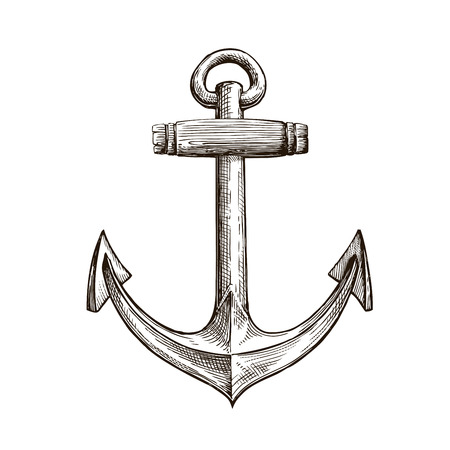 Hand drawn sketch anchor. Vector artwork illustration