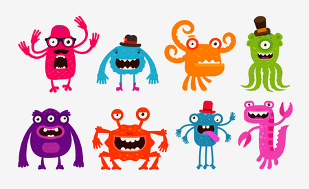 bad hygiene: Cartoon monsters, bogeyman set icons. Vector illustration