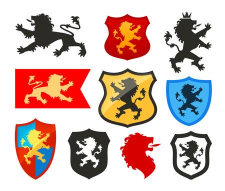Schild met leeuw, heraldiek vector. Wapenschild icoon