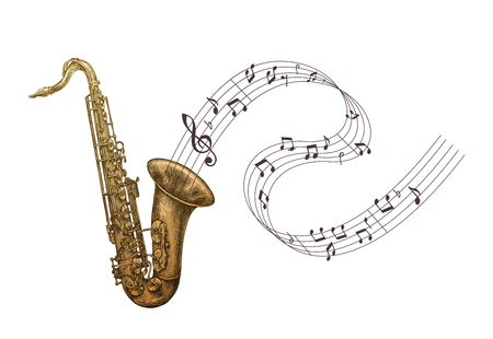 Saxophone music, jazz vector illustration. Sax isolated Ilustração