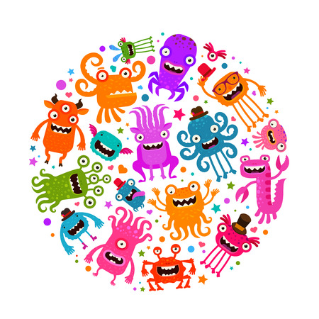 microbes: Happy Halloween. Cute monsters or microbes. Cartoon vector illustration