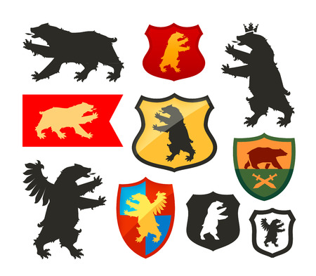 Shield with bear vector. Coat of arms, heraldry set icon