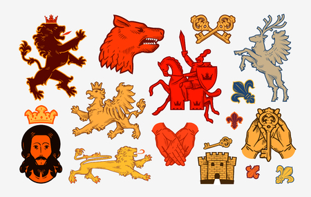Medieval symbols or icons. Collection vector Illustration