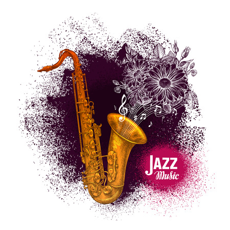 blues music: Saxophone, sax. Jazz or Blues music vector illustration
