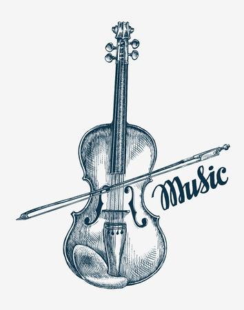 violinista: ilustración violín del vector dibujado a mano. Bosquejo de instrumentos musicales Vectores