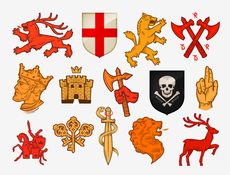 templar: Medieval symbols or icons. Collection vector Illustration