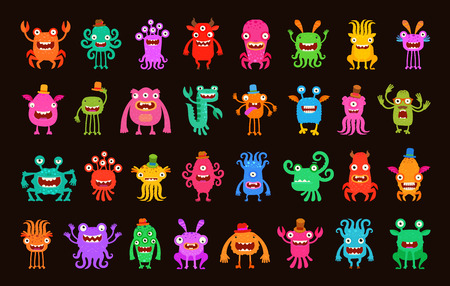 Big collection cartoon funny monsters. Vector illustration Illustration
