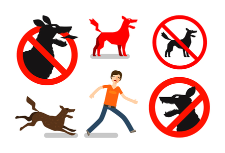 kampfhund: Wütend oder tollwütiger Hund. Vorsicht Zeichen. Vektor-Icons gesetzt