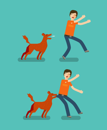 to seize: Dog bite man set of icons. Cartoon vector illustration