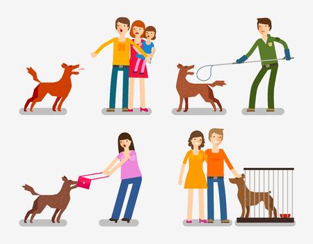 Stray dog, abandoned dog. Set of cartoon icons vector illustration