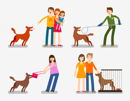 stray: Stray dog, abandoned dog. Set of cartoon icons vector illustration